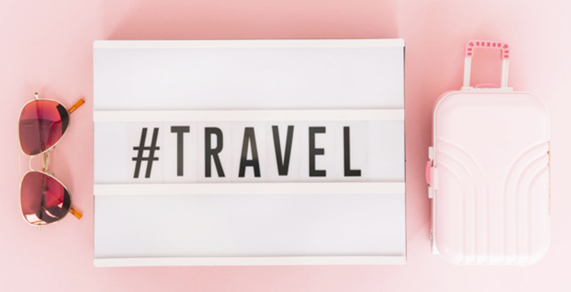 essentials products in your suitcase - pink