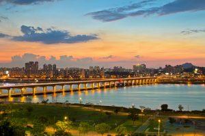 Travel destinations in Korea-river-city lights